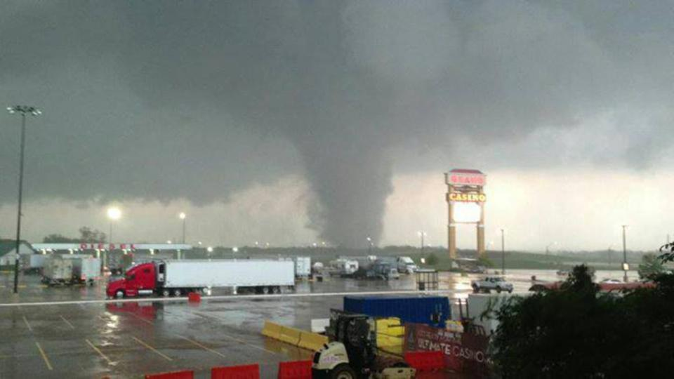 The same tornado from May 19, 2013 as seen from the Grand Casino near Dale. Photo courtesy Sara Wedersky.