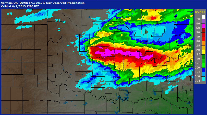 24-hour Multisensor Radar Rainfall Estimates for the 24-hour Period Ending at 7:00 AM CDT on June 1, 2013