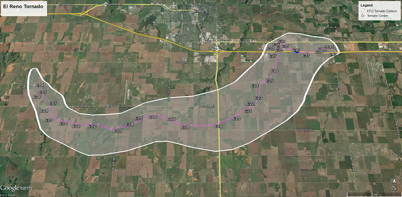 May 31, 2013 El Reno Tornado Path Map with Centroid Times