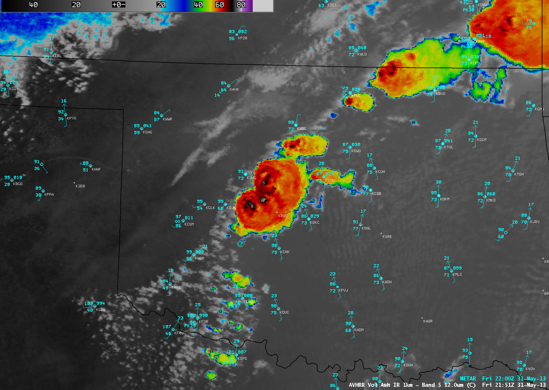 AVHRR IR satellite image from 4:51 pm CDT on May 31, 2013