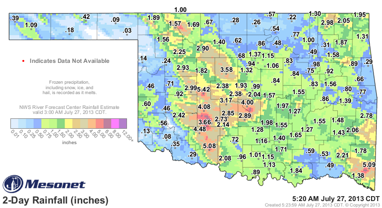 48-hour Rainfall Total in Oklahoma from 5 AM CDT on 7/25/2013 - 5 AM CDT on 7/25/2013