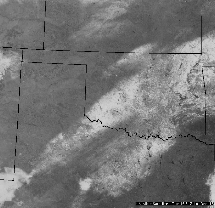 Regional Visible Satellite Image of the Snow Band in Oklahoma and North Texas at 10:31 AM CST on December 10, 2013