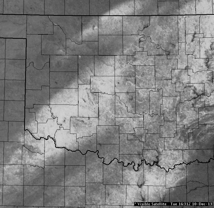 Local Visible Satellite Image of the Snow Band in Oklahoma and North Texas at 10:31 AM CST on December 10, 2013