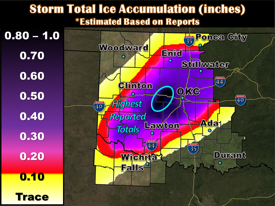 Total ice accumulations from December 20-21, 2013.