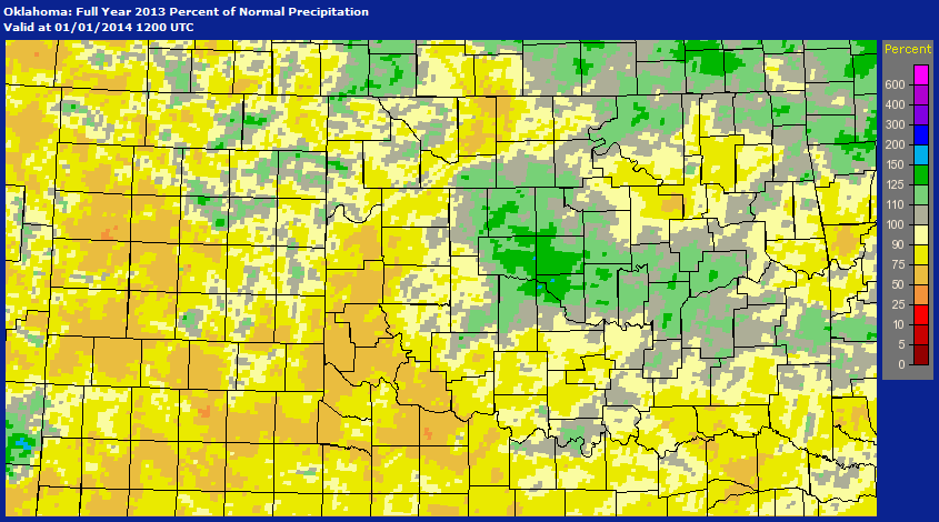 Percent of Normal Precipitation That Has Occurred Across the NWS Norman Forecast Area for 2013