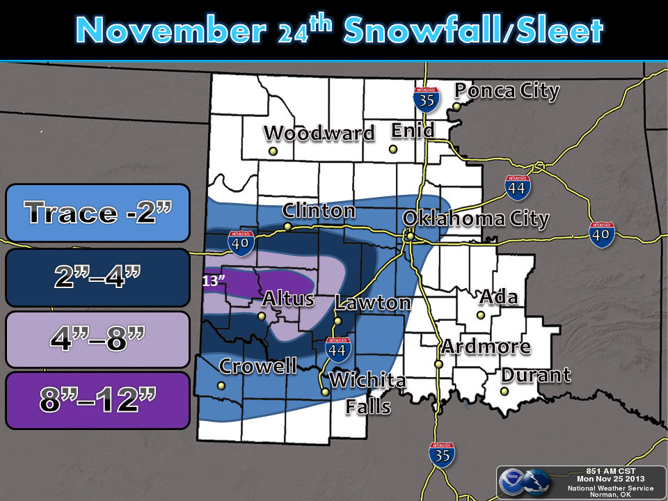 Storm Total Snowfall Amounts for the November 24, 2013 Winter Storm