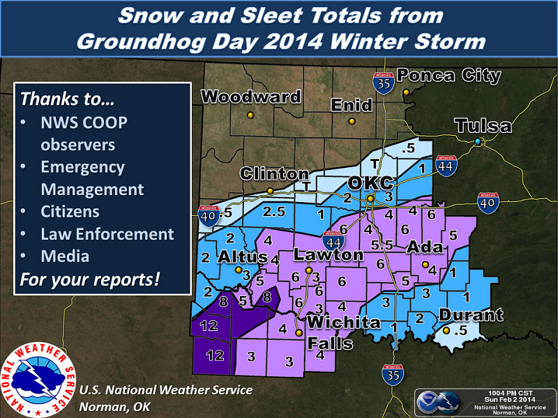 Storm Total Snowfall Amounts for the February 2, 2014 Winter Storm in Southern Oklahoma and North Texas