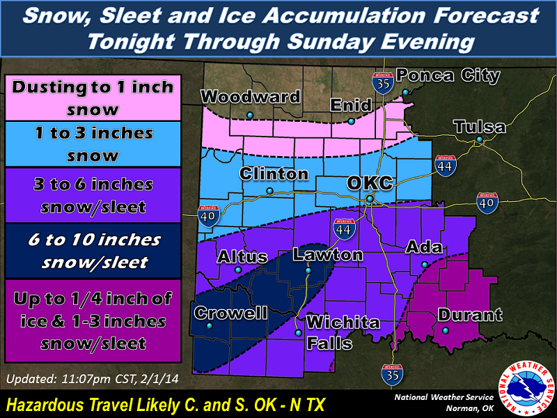 Snow, Sleet and Ice Accumulation Forecast for the NWS Norman Forecast Area Issued at 11:07 PM CST on 2/01/2014