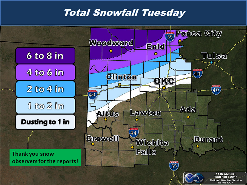 Storm Total Snowfall Amounts for the February 4, 2014 Winter Storm in Oklahoma