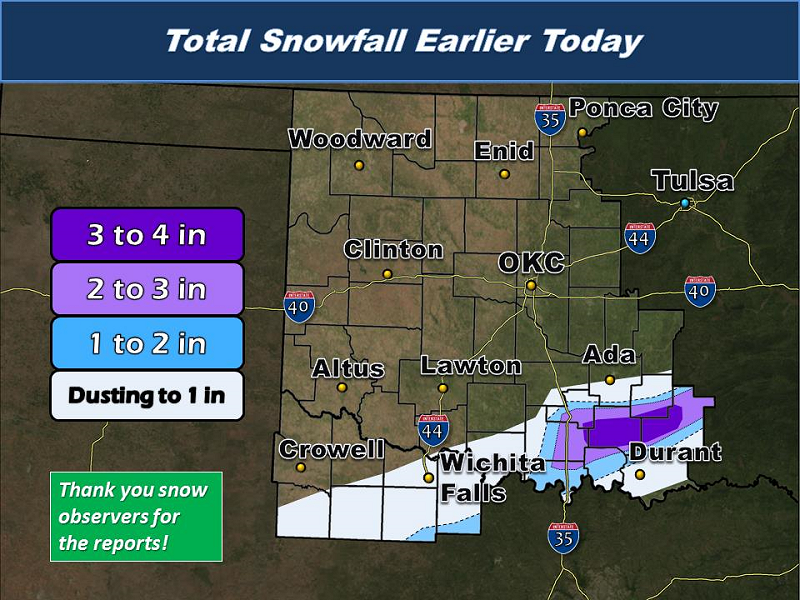 Total Snowfall Amounts for the February 7, 2014 Winter Weather Event in Southern Oklahoma and North Texas