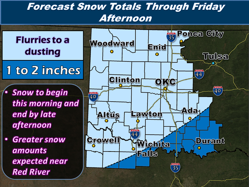 Snowfall Accumulation Forecast for the NWS Norman Forecast Area Issued at 3:42 PM CST on 2/06/2014
