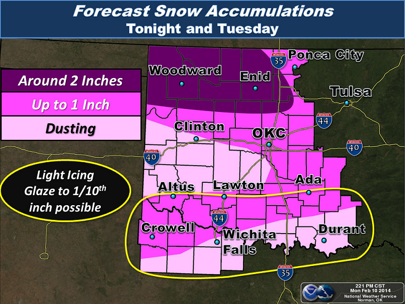 Snow, Sleet and Ice Accumulation Forecast for the NWS Norman Forecast Area Issued at 2:21 PM CST on 2/10/2014