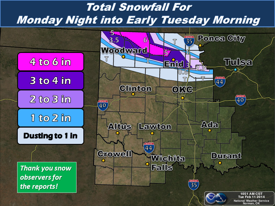 Total Snowfall Amounts for the February 10-11, 2014 Winter Weather Event in Northern Oklahoma