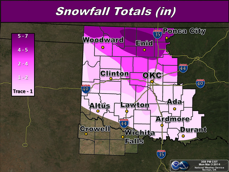 Total Snowfall Amounts for the March 1-2, 2014 Winter Weather Event in Southern Oklahoma and North Texas