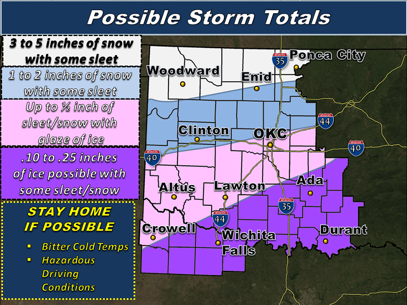 Snowfall Accumulation Forecast for the NWS Norman Forecast Area
