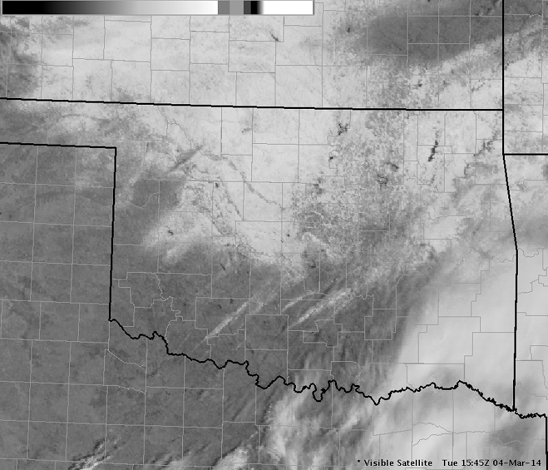 Visible Satellite Image at 9:45 AM CST on March 4, 2014 Showing the Snow and Sleet Field in Oklahoma