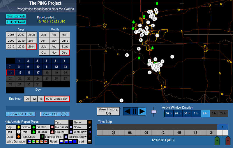 Map showing a 2-hour duration of mPING Reports in the OKC metro area.