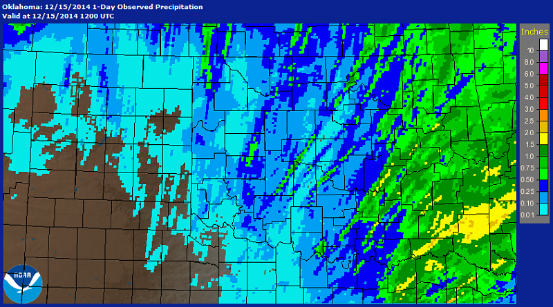24-hour Multisensor Precipitation Estimates (MPE) ending at 6 PM CST on December 15, 2014