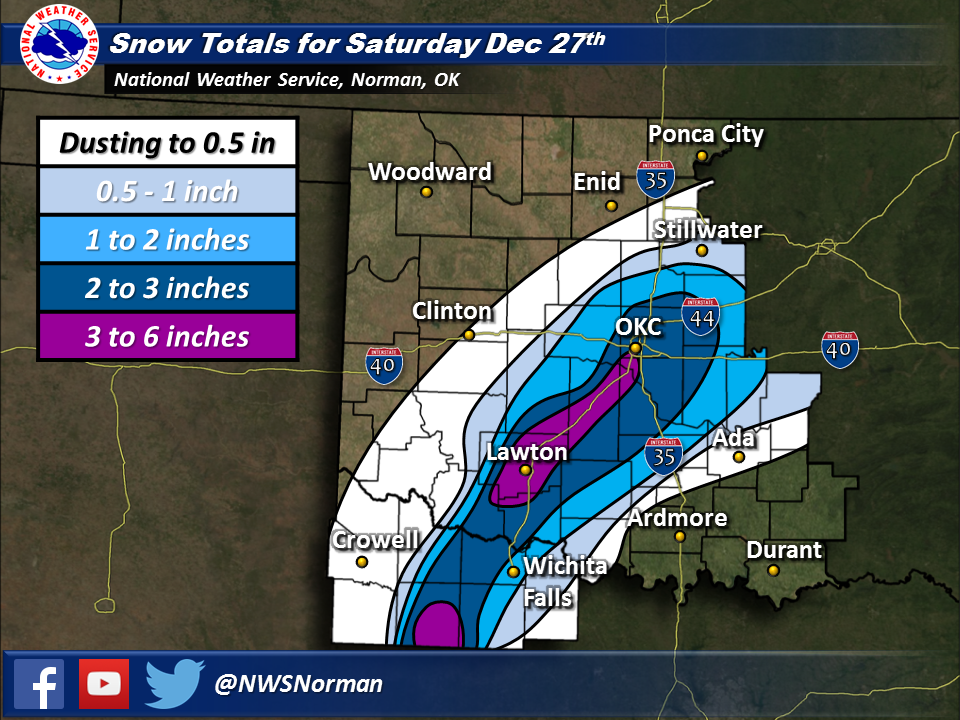 Total Snowfall Amounts for the February 5-6, 2014 Winter Weather Event in Southern Oklahoma and North Texas