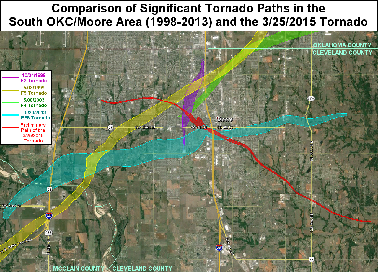 Comparison of Significant Tornadoes in the South OKC/Moore Area (1998-2013) with the March 25, 2015 SW OKC/Moore EF2 Tornado