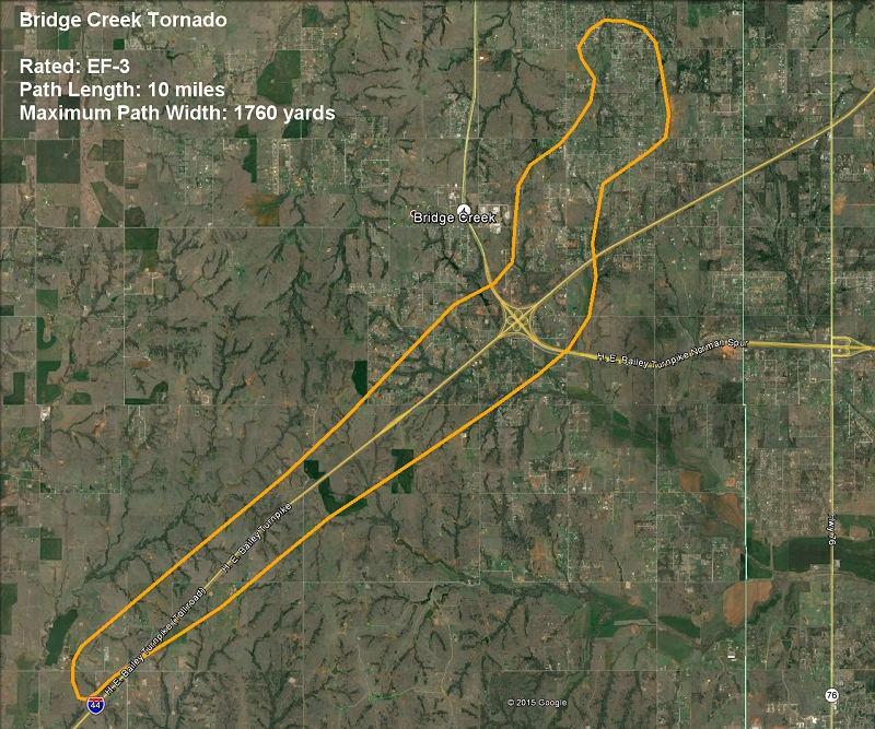 Damage Path Map for the May 6, 2015 Bridge Creek, OK Tornado