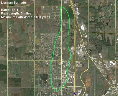 Damage Path Map for the May 6, 2015 Norman, OK Tornado