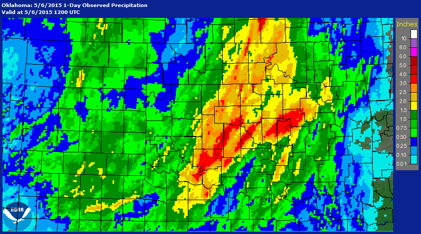 Rainfall Map for the 24-hour Period Ending at 7 AM CDT on May 6, 2015