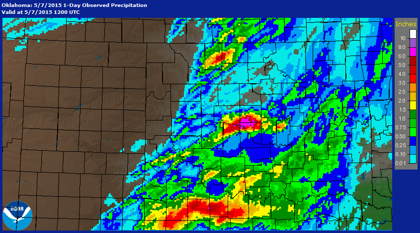 Rainfall Map for the 24-hour Period Ending at 7 AM CDT on May 7, 2015