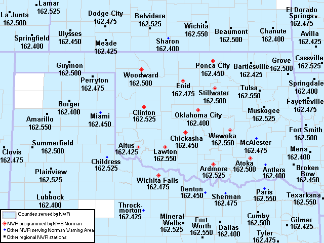 NWS Weather Radio Transmitter Sites in the Southern Great Plains Region