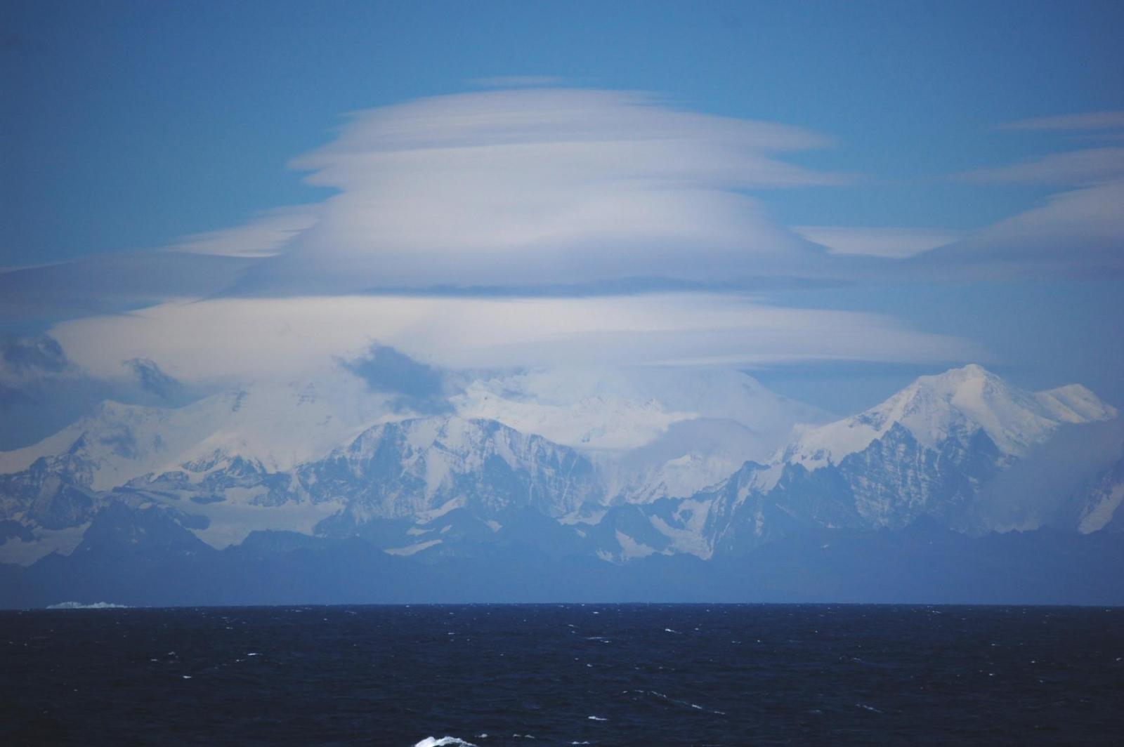 Lenticular clouds over South Georgia Island