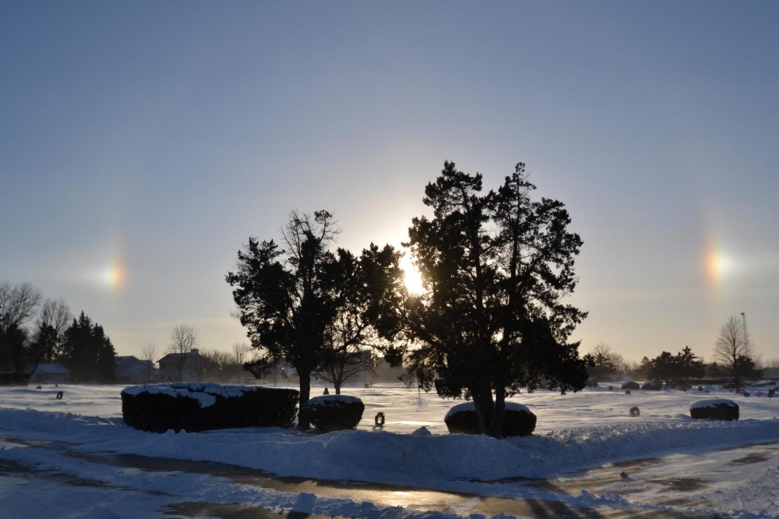 parhelia taken in -14 degrees Fahrenheit weather
