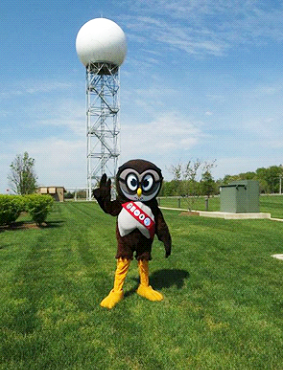 Owlie with the radar dome for NWS Baltimore/Washington located in Sterling, VA.