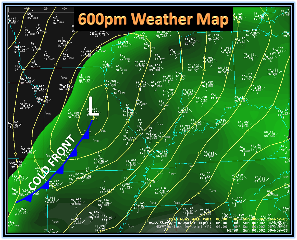 Nov Th  Evansville Area Tornado - Us weather map with high and low pressure