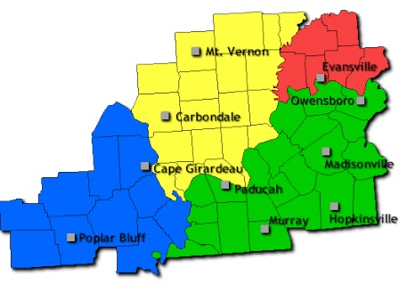 graphic of the Paducah weather office county warning area