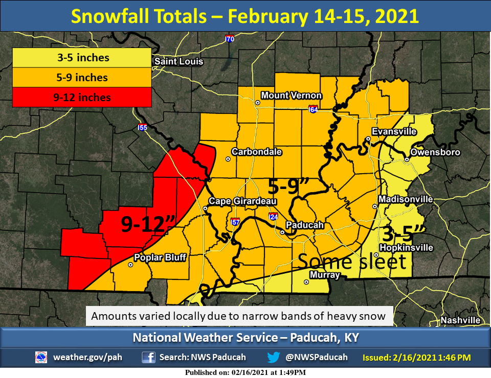 President's Day Winter Storm Totals