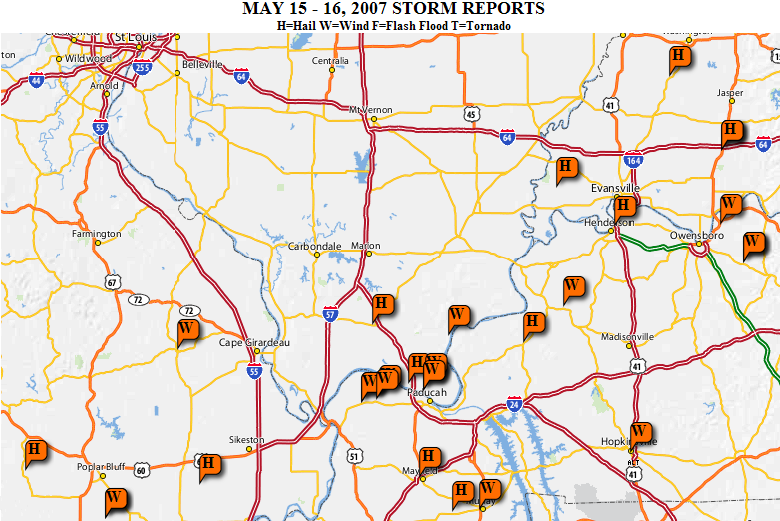 Map of wind and hail reports on May 15