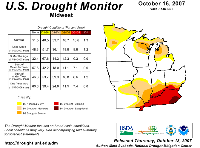 map of drought status in early fall