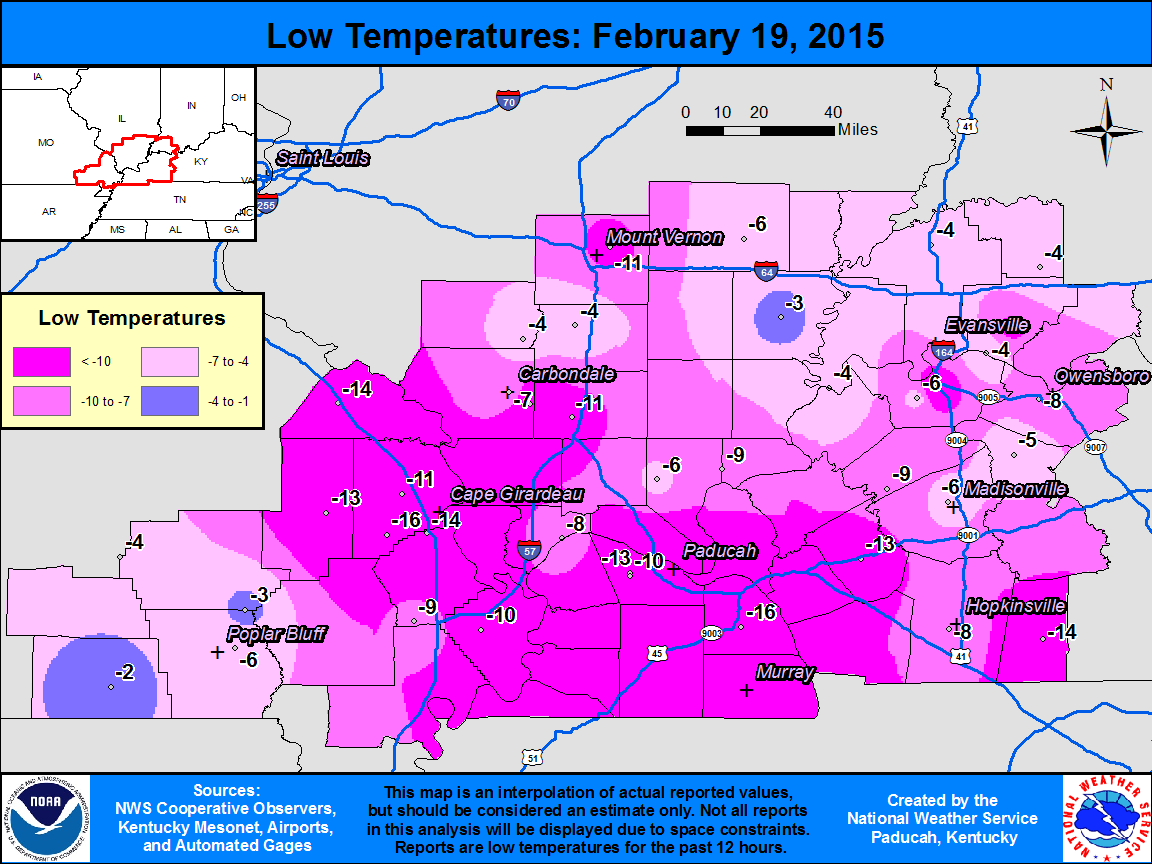 Low temperature map for Feb. 19
