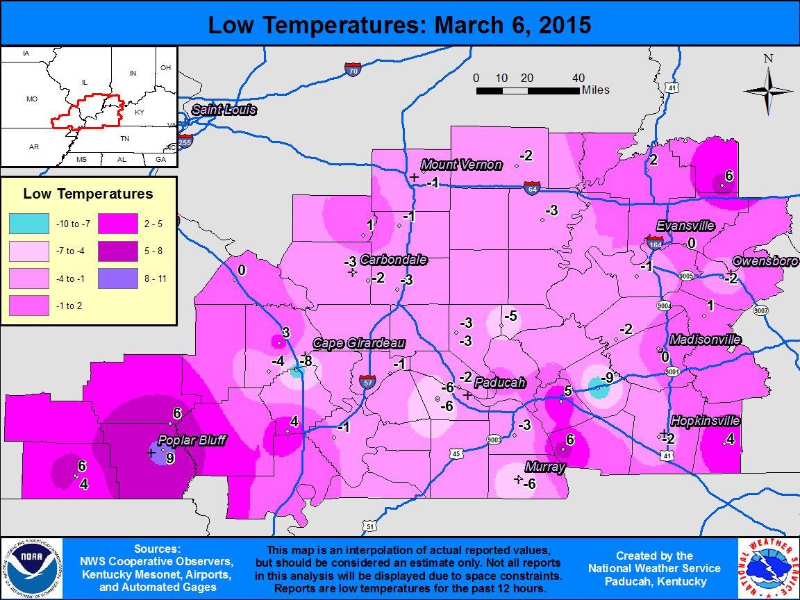 Low temperature map for March 6