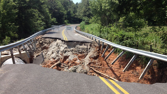 Photo of washed out road where fatality occurred