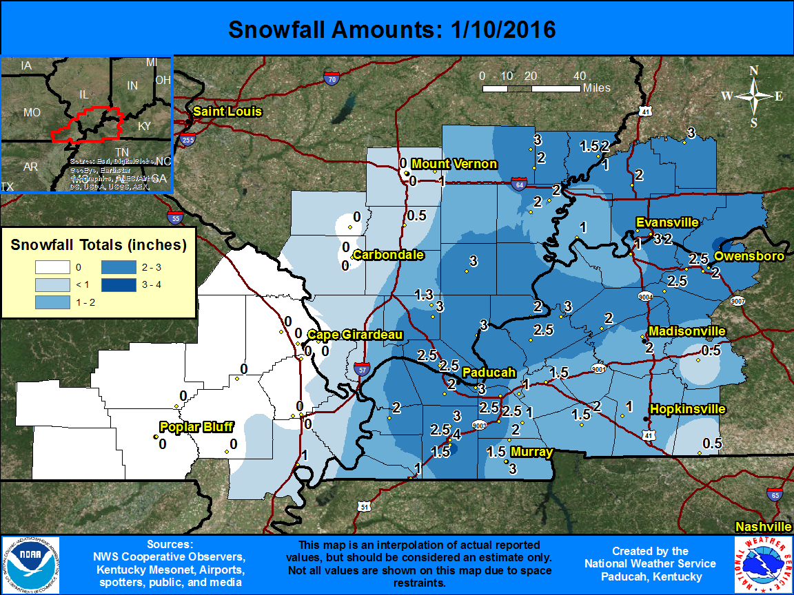 Snowfall map for Jan. 10 event