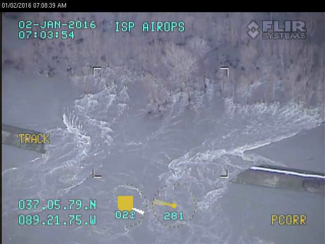 Still image of the breach in the Len Small Levee near Miller City, IL