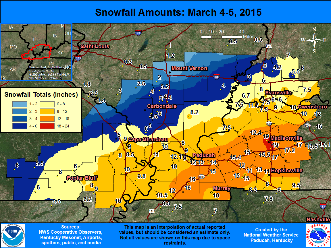 snowfall map for Mar. 4-5 storm