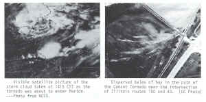 Visible satellite imagery of the Marion tornado and damage from the Conant tornado.  Images taken from the May 1982 Storm Data report.