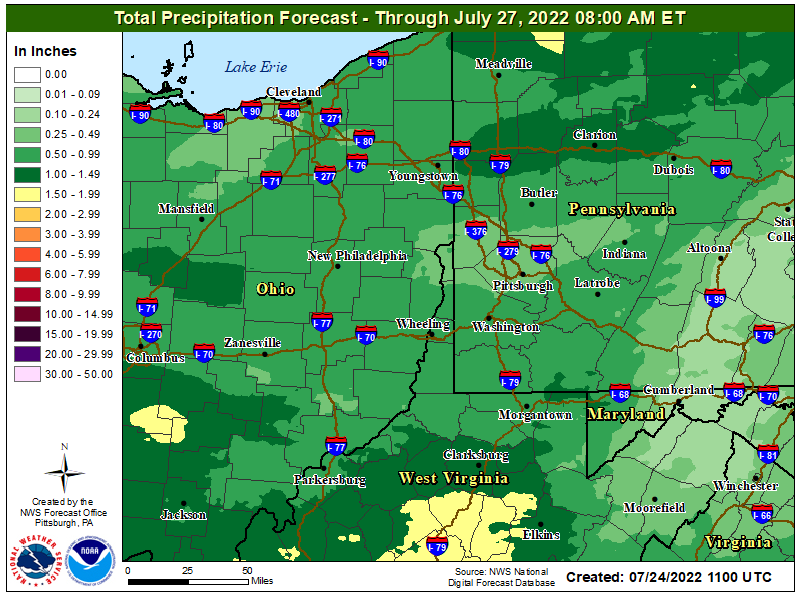 Storm Total Precipitation Pittsburgh Area Forecast