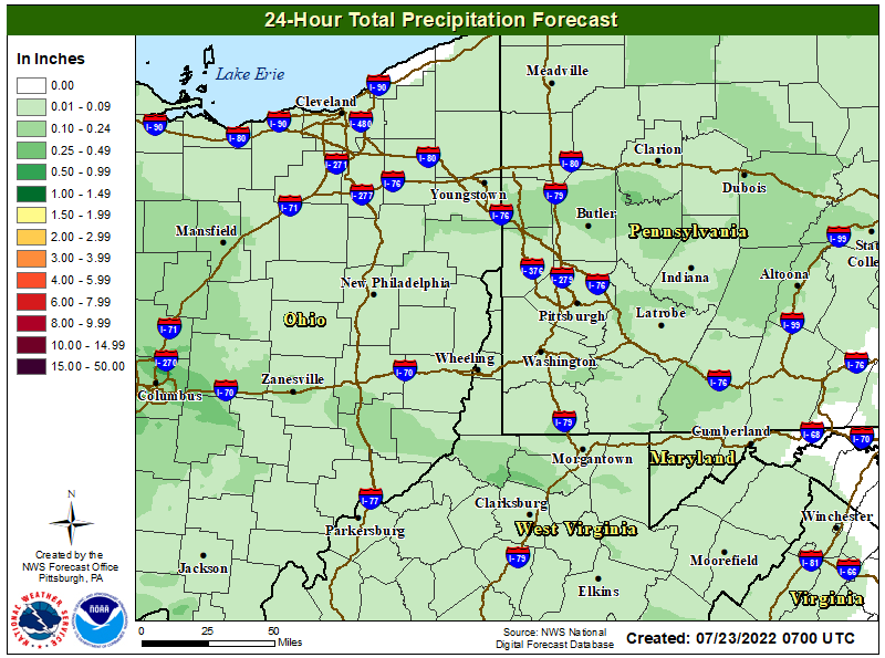 24 Hour Precipitation Pittsburgh Area Forecast