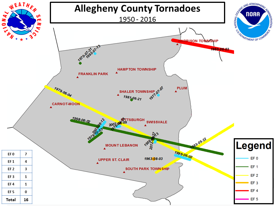 Tornado Climatology for the Pittsburgh County Warning Area