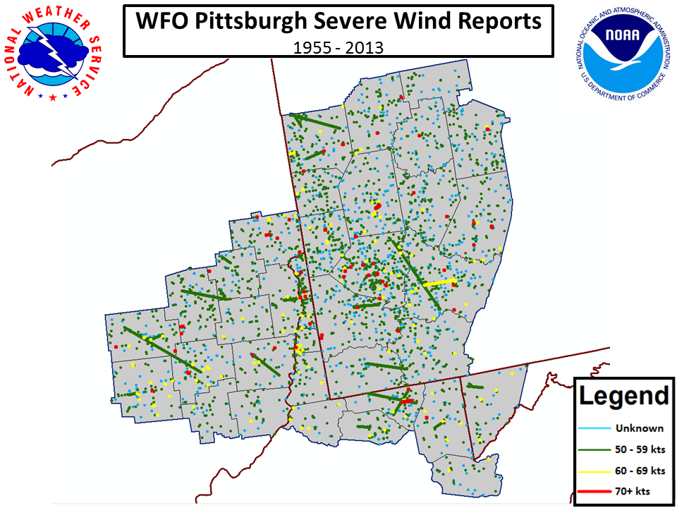 Severe weather climatology for the pittsburgh county warning area