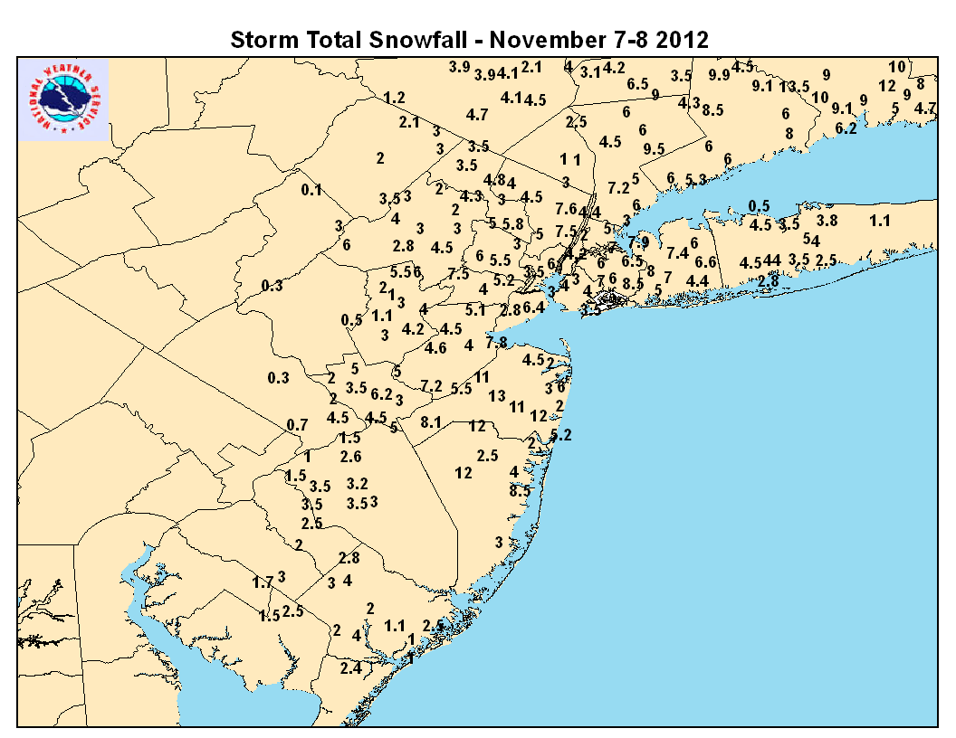 Winter Storm Totals, November 7-8, 2012