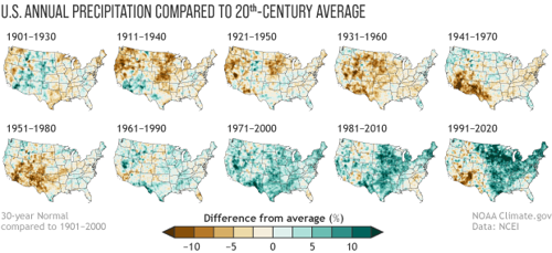 Two rows of small US maps showing annual U.S. precipitation during each official Normals compares to the 20th-century average